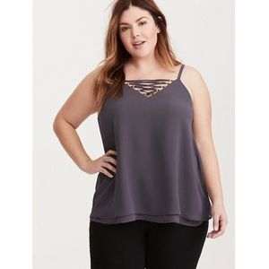 Torrid Strappy Front Double Layer Chiffon Tank Top